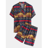 Couple Tribe Ethnic Pattern Print V-Neck Pajamas Set Khan Steamed Sauna Hotel Bath Clothes