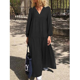 Casual V-Neck Solid Color Loose Holiday Beach Tiered Swing Maxi Dress για γυναίκες