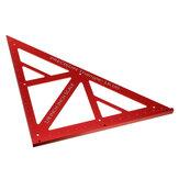 Regla de triángulo de carpintería multifunción de aleación de aluminio de 90/45 grados Regla de triángulo de precisión Inch