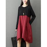 आरामदायक महिला क्रू गर्दन कंट्रास्ट रंग पैचवर्क अनियमित पोशाक