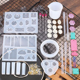 128Pcs Pendant Silicone DIY Casting Mould Set with Measuring Cup for Pendant Craft Jewelry Necklace Bracelet Making