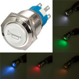 12V LED Momentary Horn On/Off/On Button Push Switch Stainless Steel 5 Colors