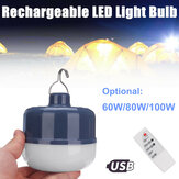 60W 80W 100W USB recarregável LED Lâmpada de acampamento Lâmpada de suspensão noturna portátil ao ar livre com Controle Remoto