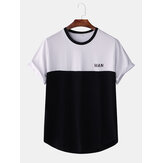 Men Loose Letter Print Color Block Short Sleeve T-Shirts