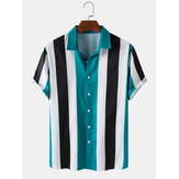 Mens Wide Striped Turn Down Kragen Kurzarm Shirts