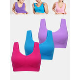 3Pcs Plus Size Women Solid Color Wireless Gather Breathable Sports T-Shirt Bra