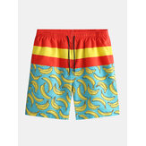 Mens Loose Beach Five Point New Banana Print Surfing Pants S