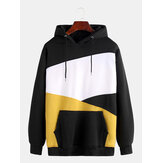 Mens Patchwork Color Insert Pocket Casual Long Sleeve Hooded Sweatshirt