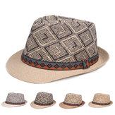 Erkekler Kadın Retro Panama Tarzı Etnik Fötr Fedora Straw Sun Şapka Kemer ile