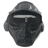 Tactical Airsoft Pro Full Face Máscara com protecção contra óculos metálicos de segurança