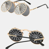 Cross-border Steampunk Clamshell Female Sunglasses Men's Classic Metal Mirror Retro Colorful Sunglasses For Driving Outdoor Beach