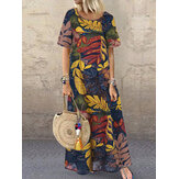Women Short Sleeve Crew Neck Floral Cotton Vintage Maxi Dress