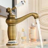 Смеситель для ванной комнаты Смеситель для раковины из латуни Современный кран с одной ручкой Античная бронзовая отделка