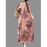 विंटेज पुष्प प्रिंट ओ-गर्दन लूज मैक्सी ड्रेस