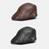 2PCS Collrown Men's PU Leather Retro Casual Warm Newsboy Hat Forward Hat Beret Hat