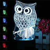 Сова 3D LED Изменение цвета Night Light USB Зарядка Стол Рабочий стол Лампа Украшения с контроллером Дистанционный