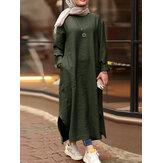 Mangas compridas com decote em O feminino de cor sólida dividida Robe Kaftan vestido maxi casual com bolso
