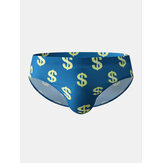 Mens Dollar Pattern Print Swimming Trunks