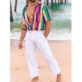 Mens Summer Fashion Rainbow Colorful Striped Shirts