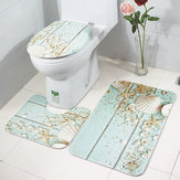 3PCS Toilet Seat Covers Bathroom Set Flannel Starfish Shell Toilet Non-Slip Rug Lid Pedestal Mat