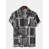 Mens Vintage Baroque Print Fold Down Collar Short Sleeve Fashion Shirts