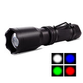 SL-A101 350LM LED+RGB 4-Colors Zoomable Flashlight USB Rechargeable LED Torch Waterproof Camp Light
