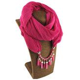 Boheems bedrukt katoenlinnen meerlaagse ketting met effen kleur kralen kwast hanger sjaal ketting