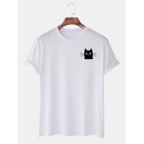 Mens Simple Cartoon Katze Grafik Lässig Kurzarm T-Shirts