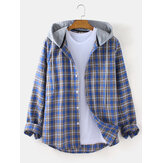 Mens Tartan Loose Fit Button Up Long Sleeve Drawstring Hooded Jacket