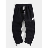Mens Solid Color Corduroy Drawstring Waist Thick Jogger Pants With Bungee Cords