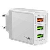 TOPK 30W 3 USB Ports Wall Charger EU Adapter For iPhone X XS HUAWEI P30 Mate20 MI9 S10 S10+