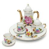 8pcs Porzellan-Weinlese-Tee-Satz-Teekanne-Kaffee-Retro- Blumenschalen-Puppe-Haus-Dekor-Spielzeug