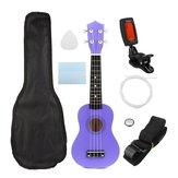 21 Inch Ekonomiczny Sopran Ukulele Uke Instrument Muzyczny Z Gig Bag Strings Tuner Purple