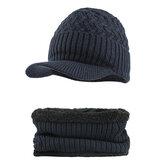 Outdoor Winter Plus Velvet Knit Hat Scarf Set Earmuffs Cap