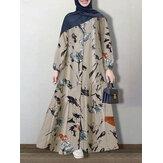 Kadın Vintage Çiçek Baskı Düğmesi Yukarı Kaftan Uzun Kollu Maxi Elbiseler