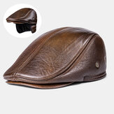Men Genuine Leather Keep Warm Plus Thickness Cotton Windproof Ear Protection Forward Hat Beret Hat