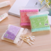 100pcs/ Pack Double Head Cotton Swab Disposable Women Makeup Cotton Buds Tip For Wooden Sticks Ears Clean Health Care Tools