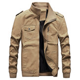 Mens Military Style Epualet Pockets Cotton Cargo Fall Jacket