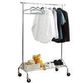 Estante de ropa de 1 pieza con estante de red y ruedas Ropa de almacenamiento conveniente plegable móvil Percha Suministros para el hogar Organizador
