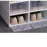 4PCS Shoe Storage Box Stackable Foldable Plastic Transparent Case Organize