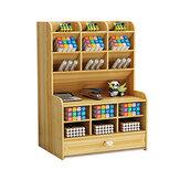 6 couches porte-stylo avec tiroir papeterie de bureau support de rangement en bois organisateur de bureau boîte de bricolage fournitures de bureau à domicile