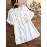 Women Round Neck Embroidered Button Short Sleeved T-shirts