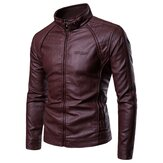 Mens Casual Stand Collar Thick Warm Leather Jacket