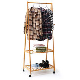 Bamboo Clothes Garment Clothes Hanging Rack Display Coat Storage Shelf with Wheels