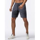 Mens Bicycle Pocket Elastic Waist Solid Color Drawstring Loose Shorts Sport Shorts