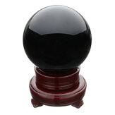 100MM Black Natural Obsidian Sphere Large Crystal Ball Healing Stone with Stand Base Office Decoration Furnishings
