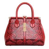 女性高品質PUレトロレトロ刺繍ハンドバッグトートバッグショルダーバッグ