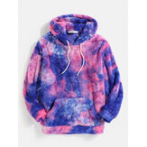 Tie Dye Fluffy Fleece Long Sleeve Kangaroo Pocket Hoodies