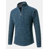 Mens Thick Solid Color Half Zipper Long Sleeve Knitting Sweaters