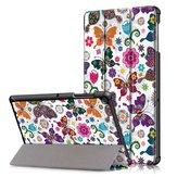 Tri-Fold Printing Tablet Case Cover voor Samsung Galaxy Tab S5E SM-T720 SM-T725 Tafel - Vlinder